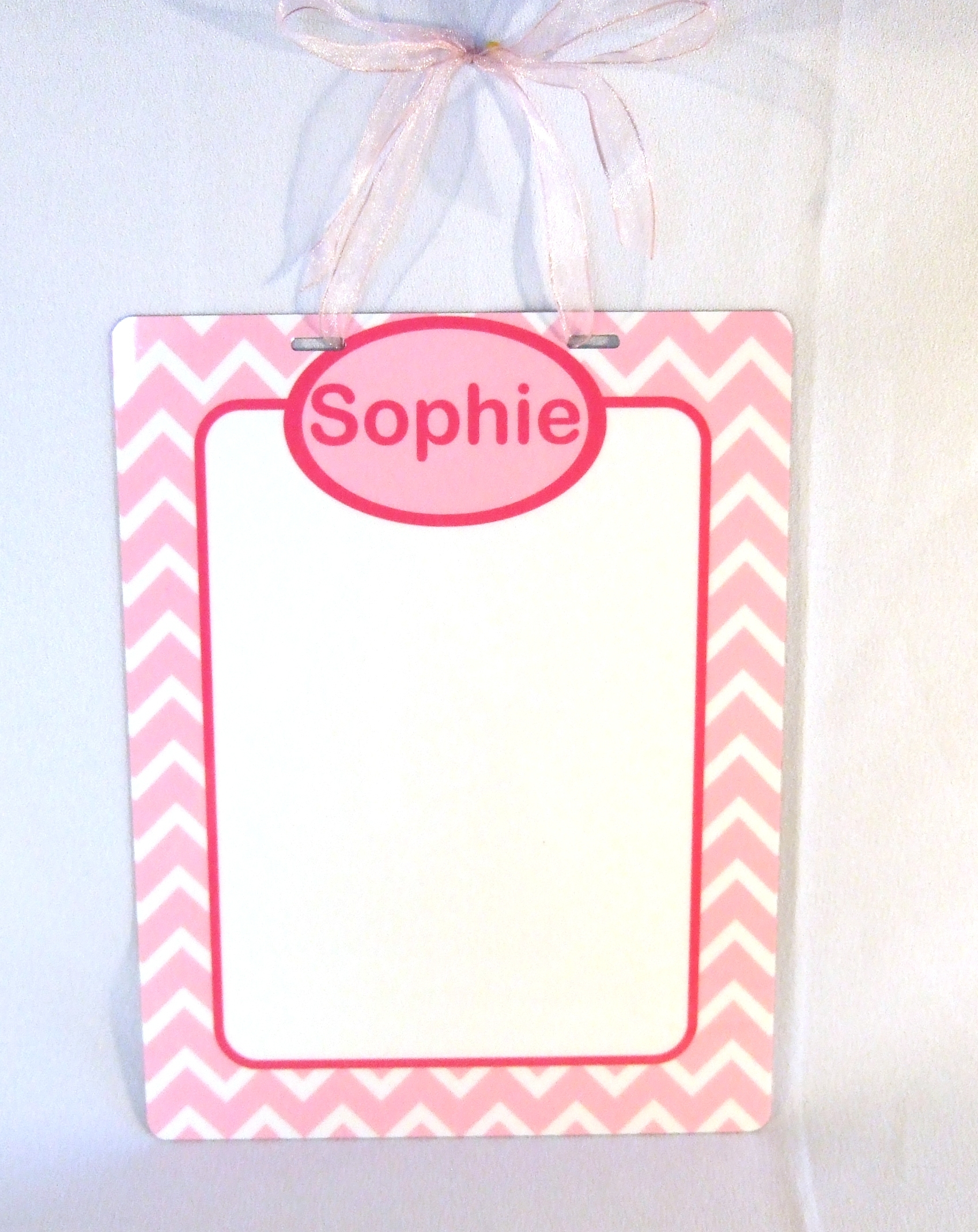 DEB1007Personalized metal dry erase board with light pink and hot pink chevron pattern and hot pink trim
