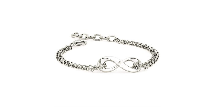 silver infinity bracelet diamond accent