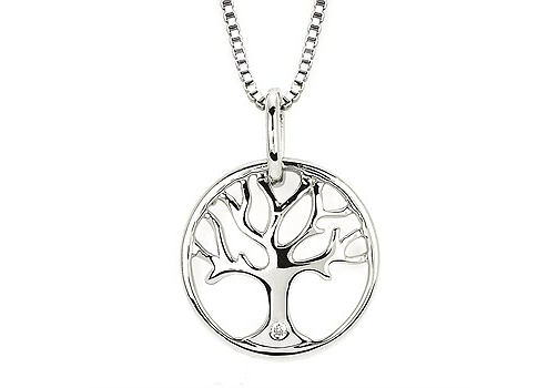 silver necklace tree of life diamond accent