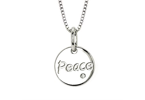 silver necklace peace diamond accent