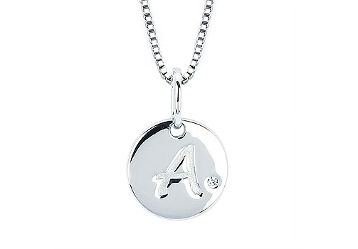 silver initial necklace diamond accent