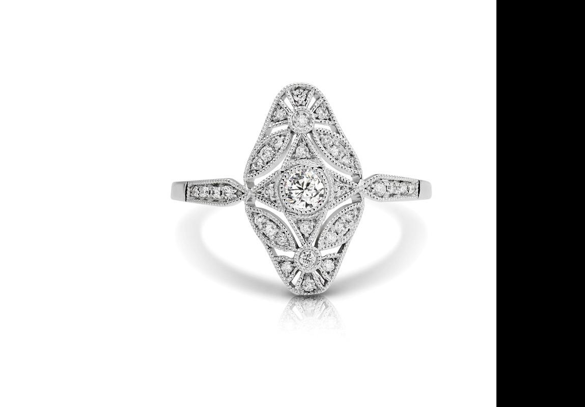white gold diamond vintage ring