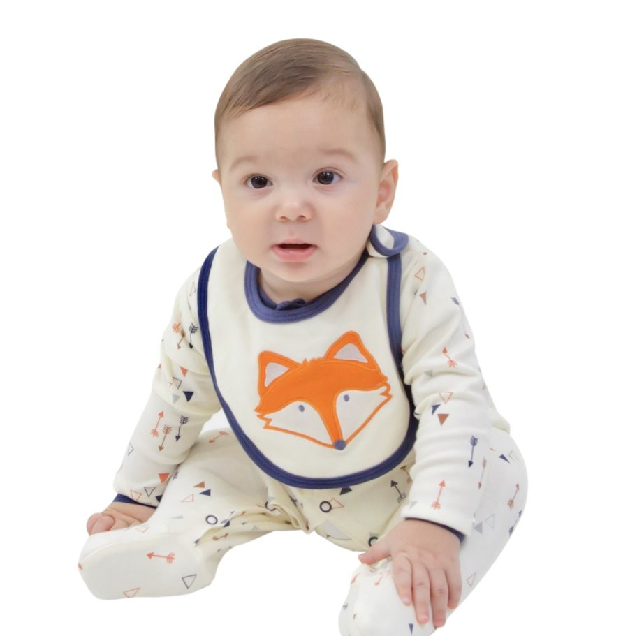 Woodland Fox LAYETTE SET (BODYSUIT, FOOTIE, AND BIB) $24.00