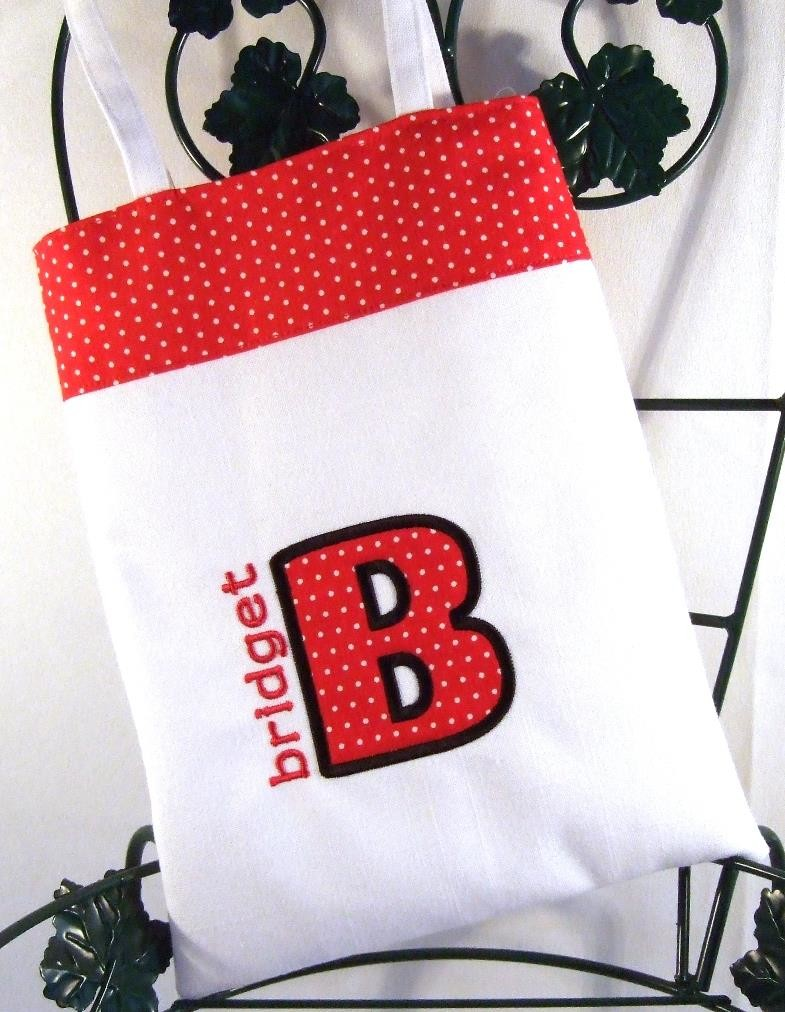 Personalized girls purse with red & white dot trim