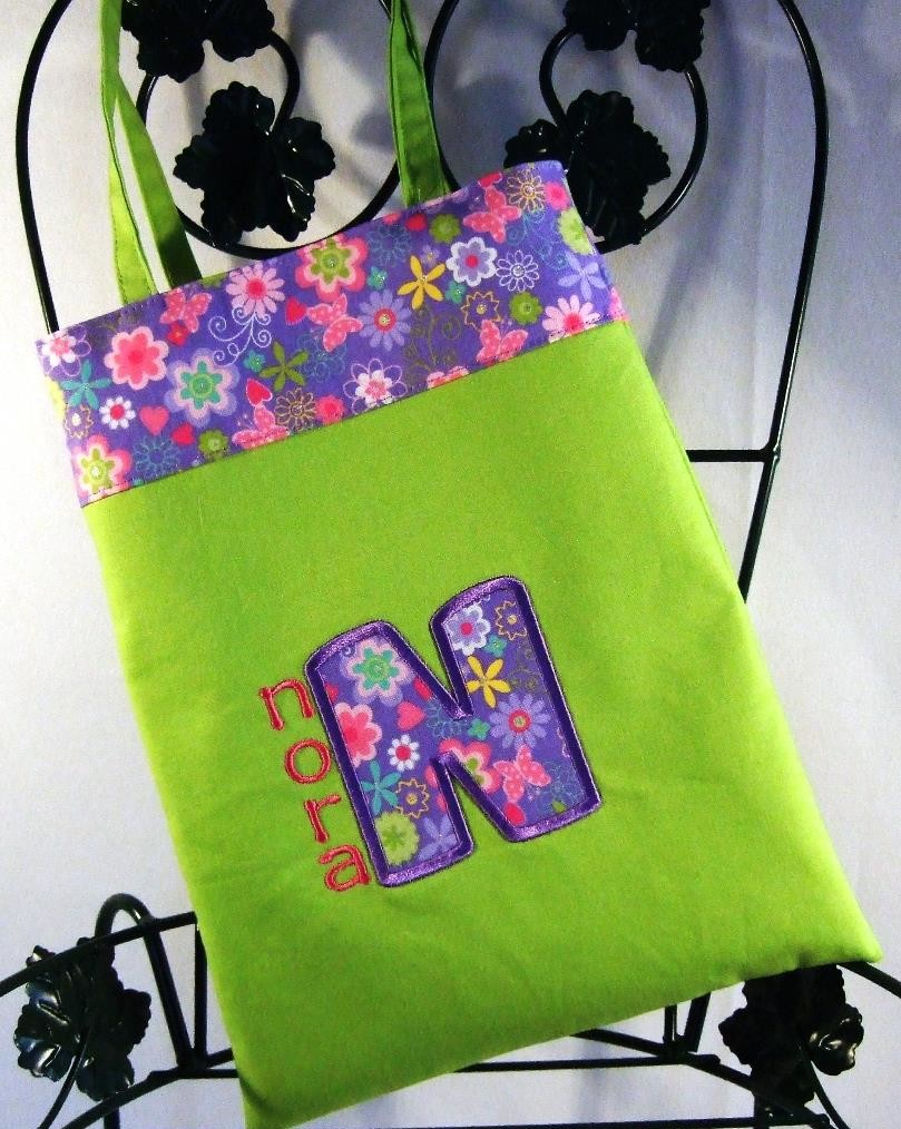 Personalized  lime green girls purse with floral trim