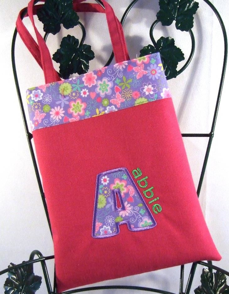 Personalized  hot pink girls purse with floral trim