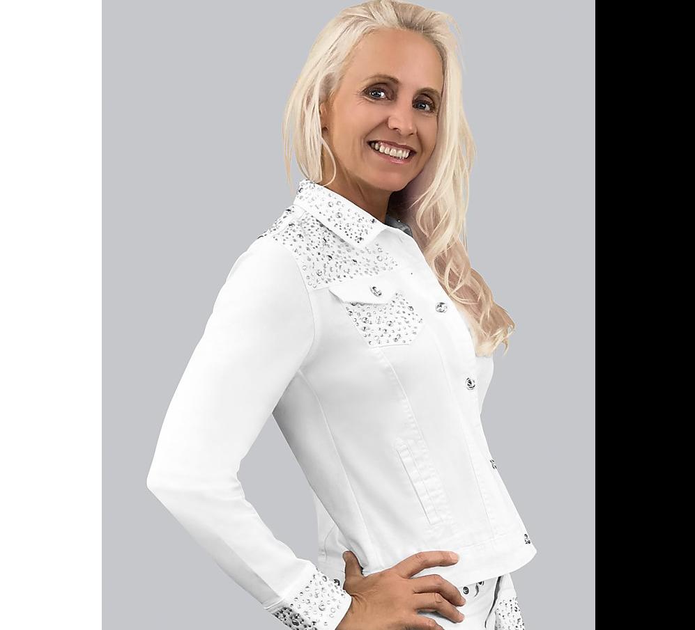 White Denim Jacket w/Crystals