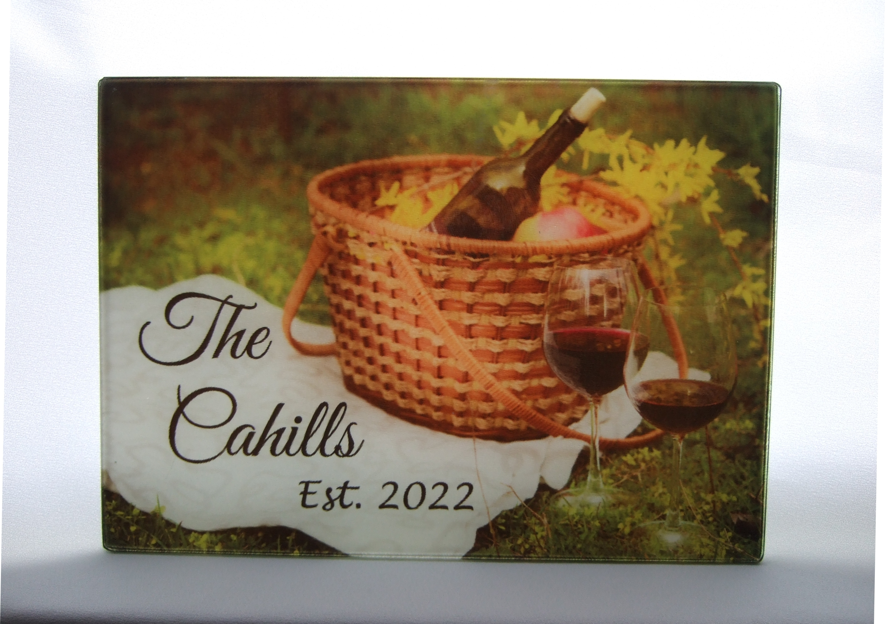Personalized glass cutting board with wine and picnic basket theme GCB1010