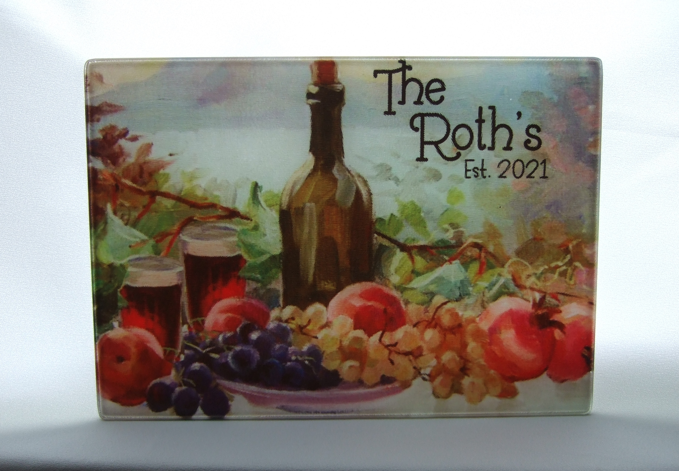 Personalized glass cutting board with wine and fruit theme GCB1009