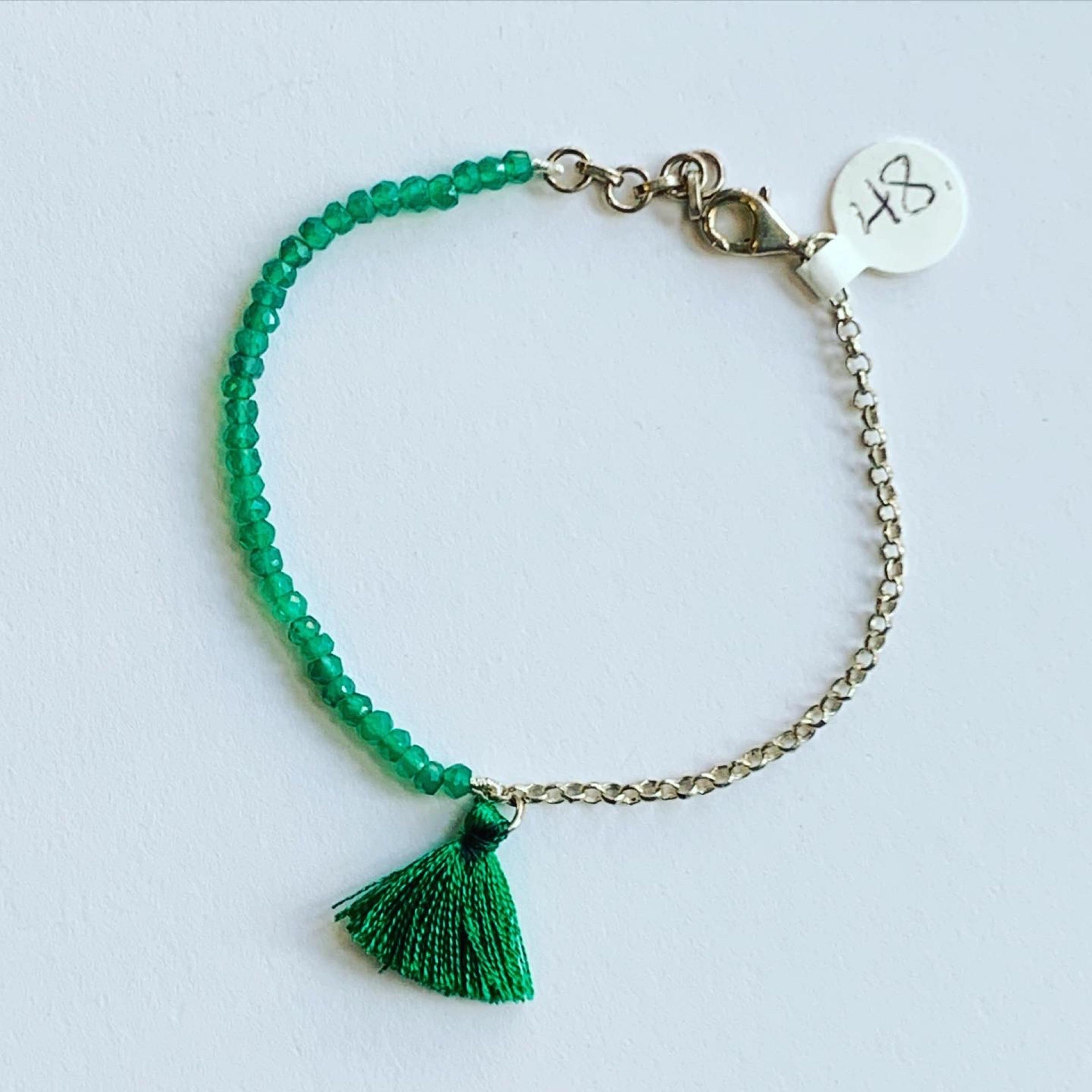 Green Onyx Tassel Bracelet