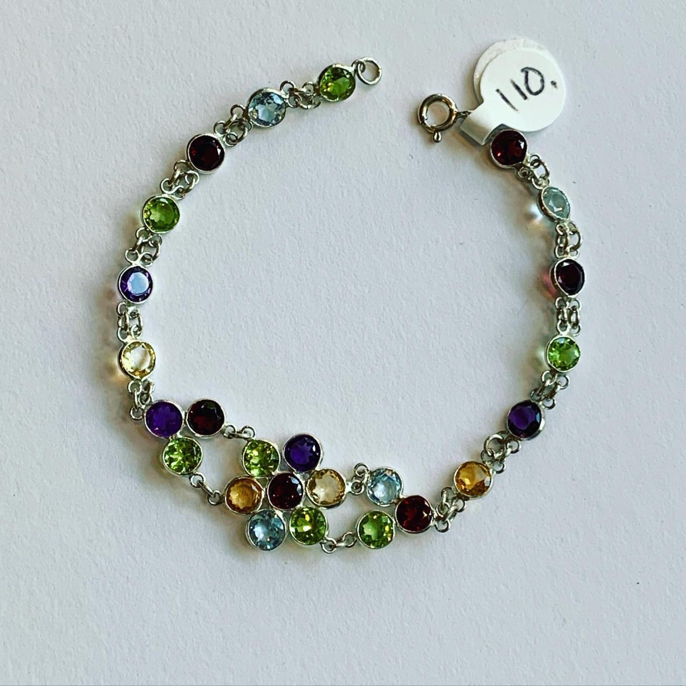 Multi-Stone Flower Bracelet