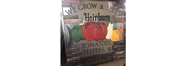 Virden Hardware in Virden, IL hand painted store front sign   we grow and sell heirloom tomatoes, pepper, and eggplants