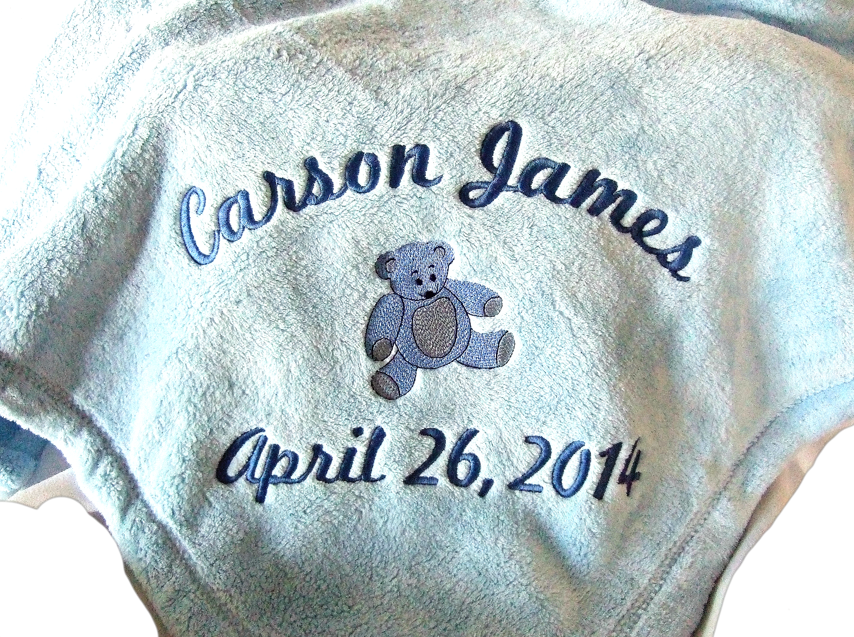 Personalized baby blanket with teddy bear TMF1005