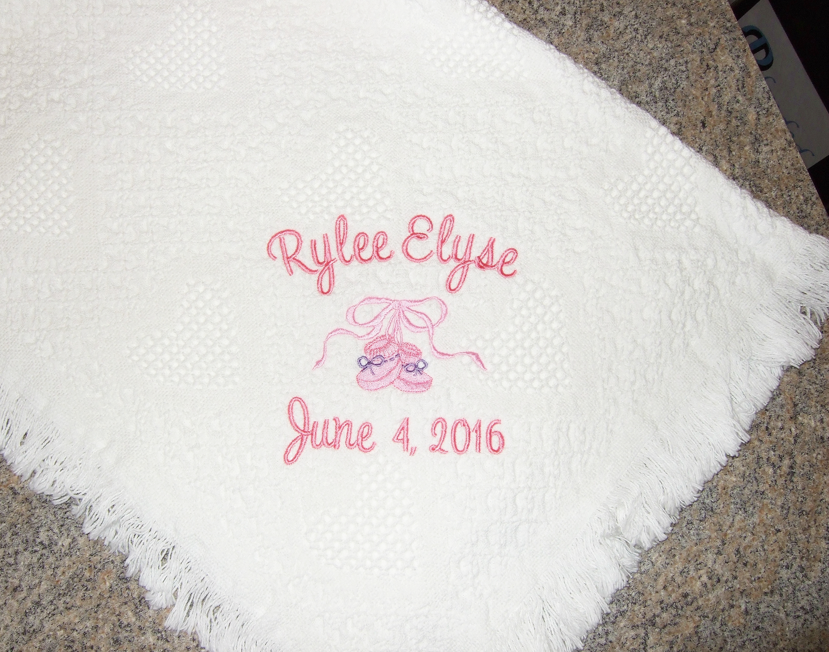Personalized white baby blanket  with baby booties BWH1000