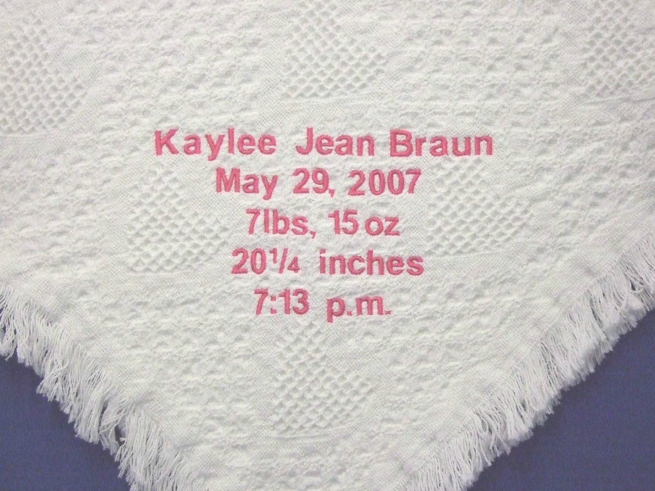 Personalized white woven hearts baby blanket with baby's birth details BWH1003