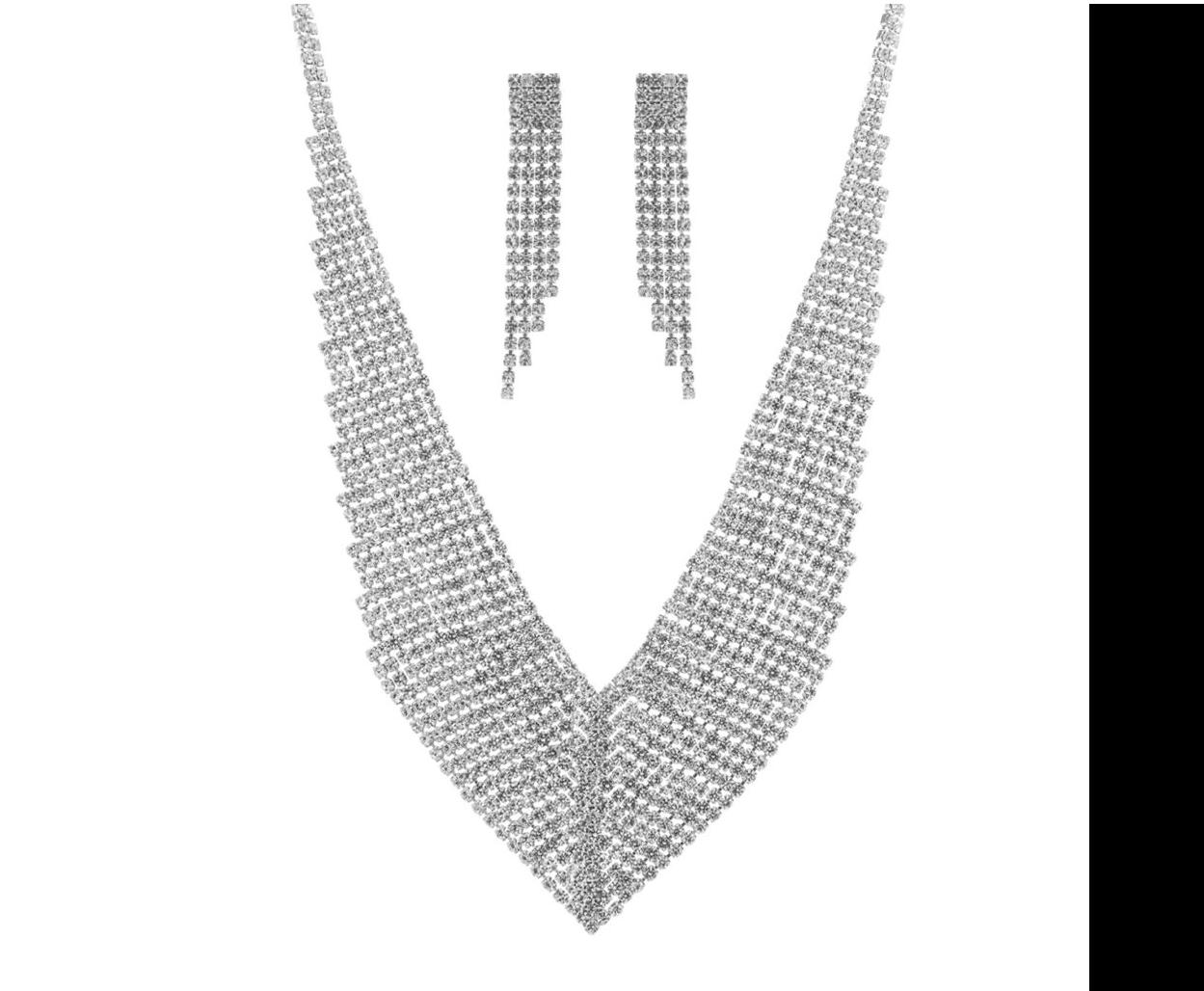 Sparkling V Necklace/Earring Set