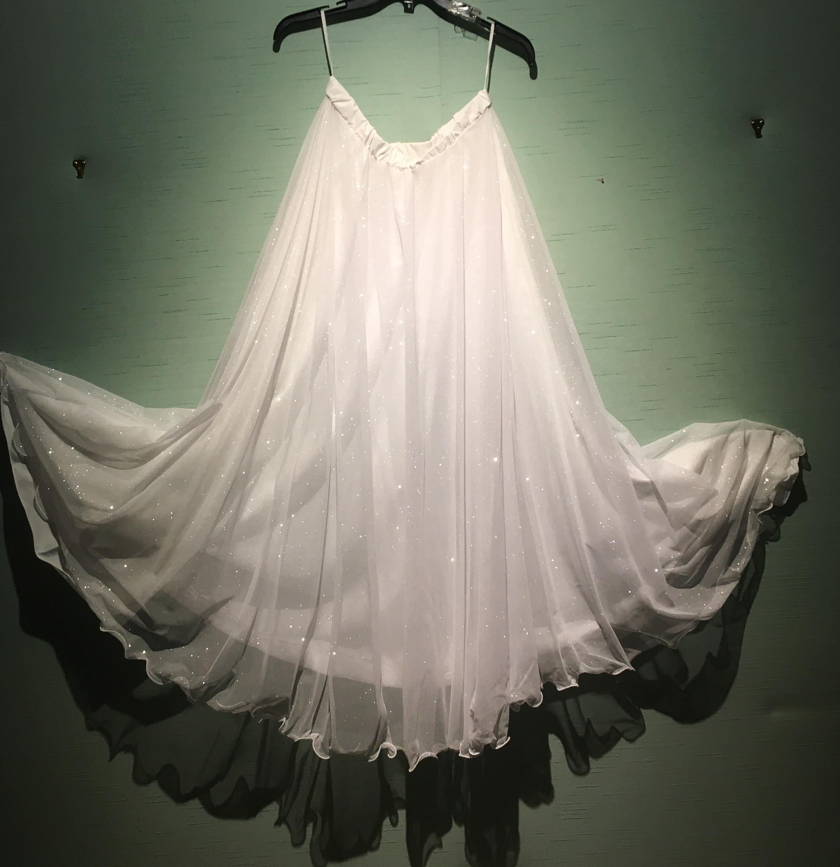 White/S Sparkle Chiffon 1/2 Circle Skirt