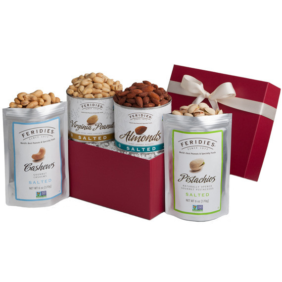 gourmet nut gift, peanuts, pistachios, almonds, cashews