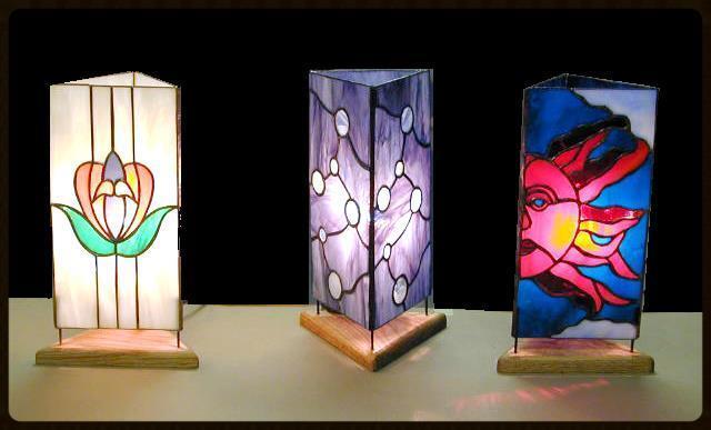 3-panel glass table lantern class example