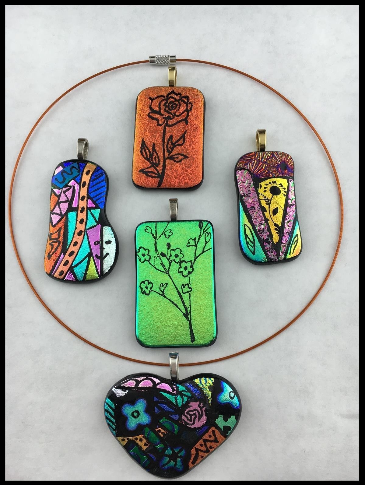 Fusing picasso style dichroic pendant example