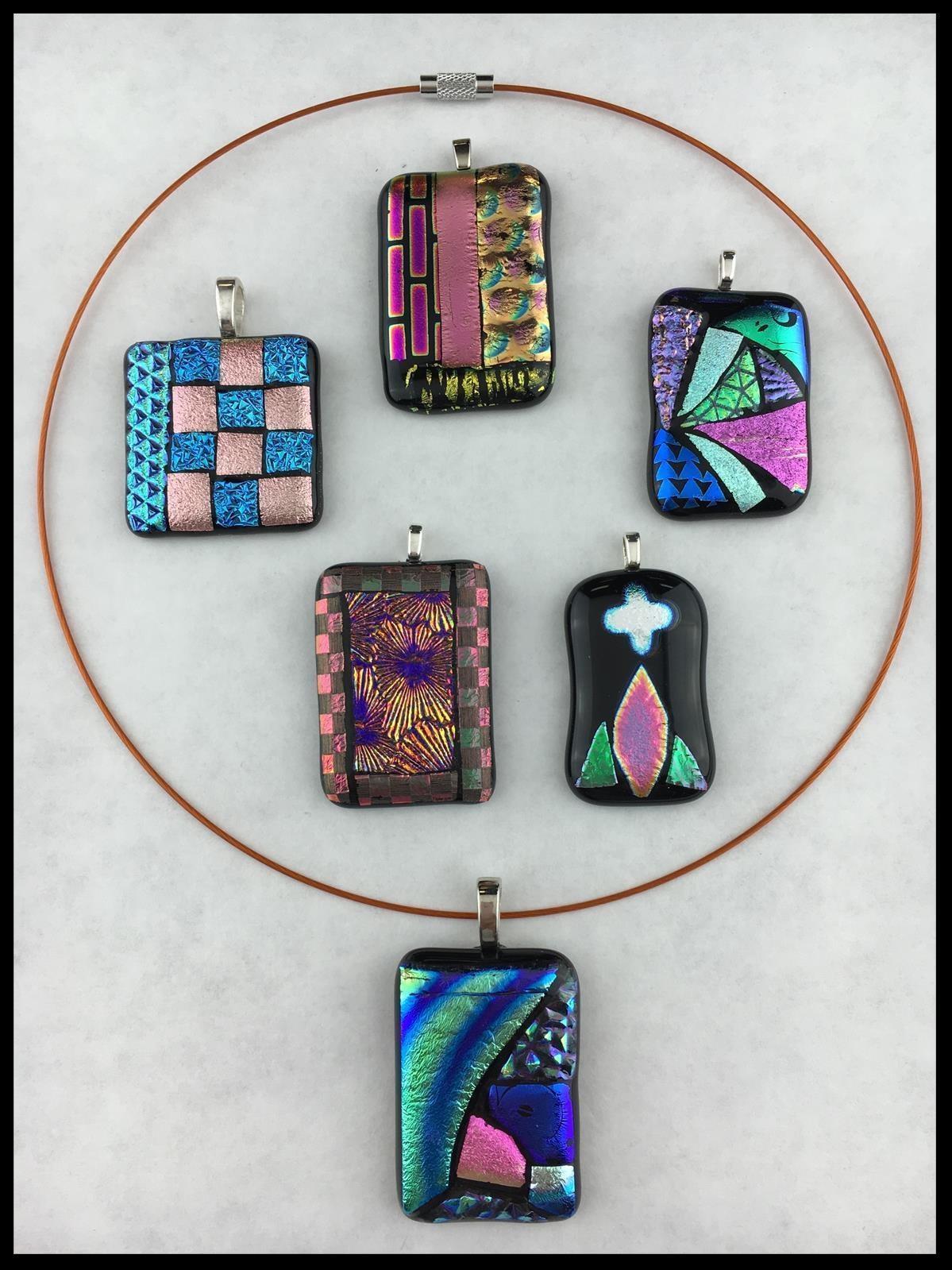 Fusing mosaic dichroic pendant example