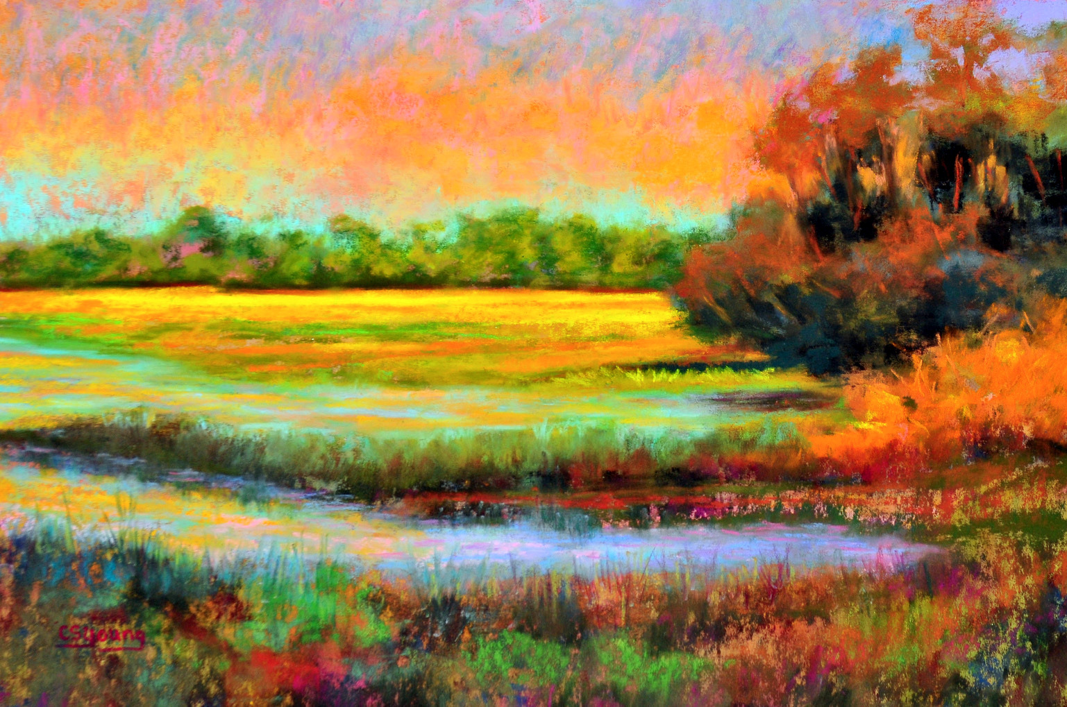 fine art painting, original art, Caroline Young, pastel painting, landscape,