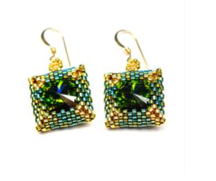 Square Peyote Bezel Earrings