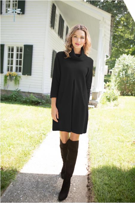 Cotton/Cashmere Kim Dress in Black