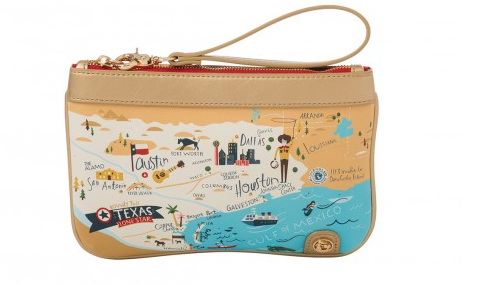 Texas Map Zip Wristlet