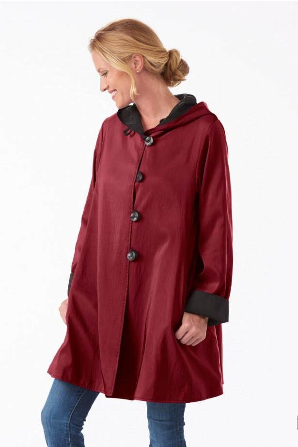 madison coat by janska ruby jet red