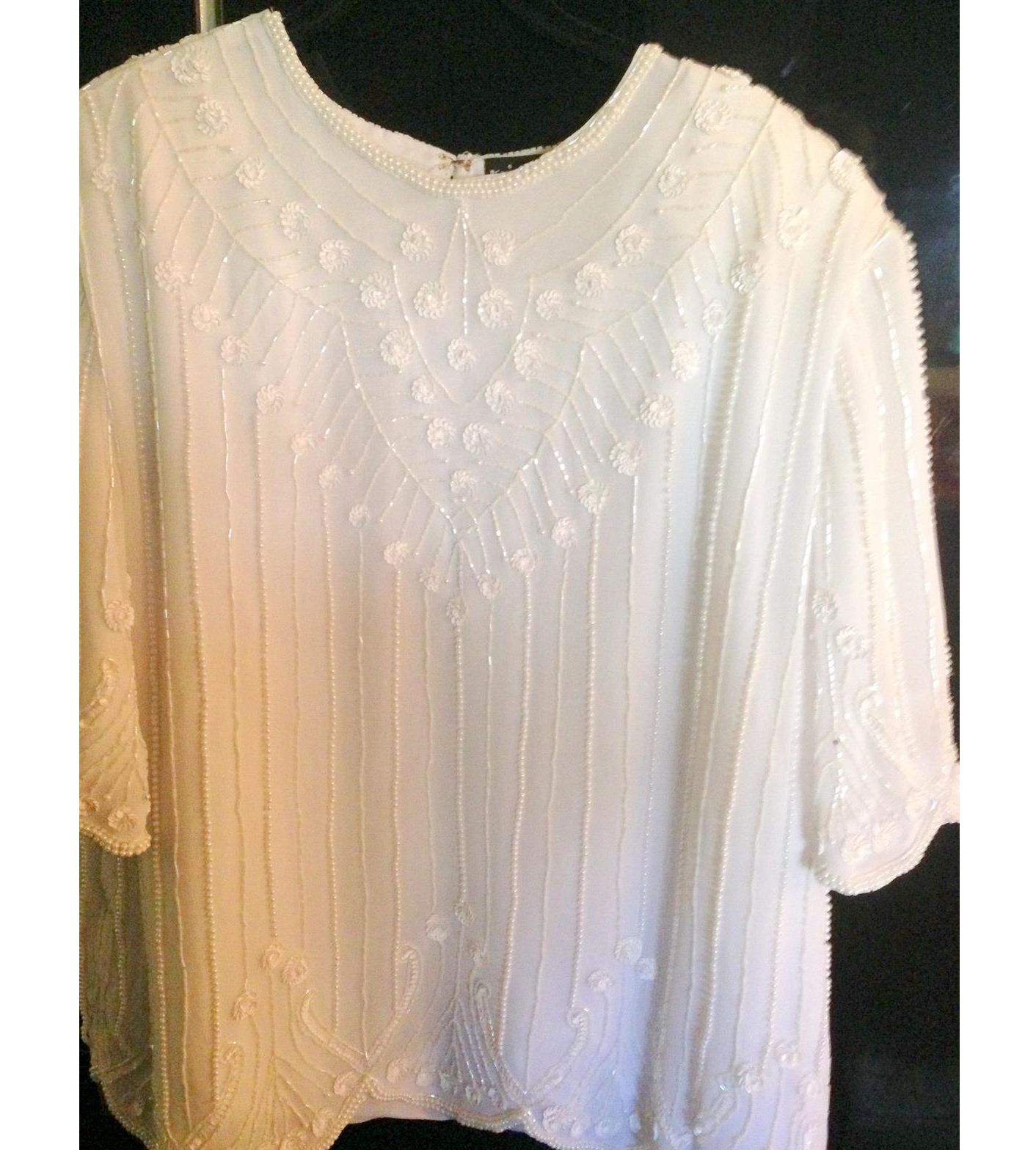 White Beaded Top-Stripe
