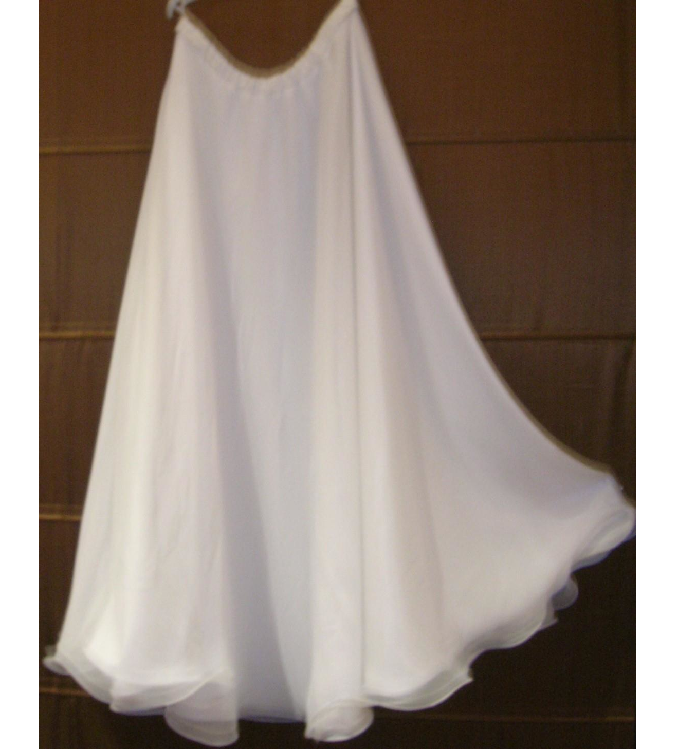 White Chiffon 1/2 circle skirt with flounce