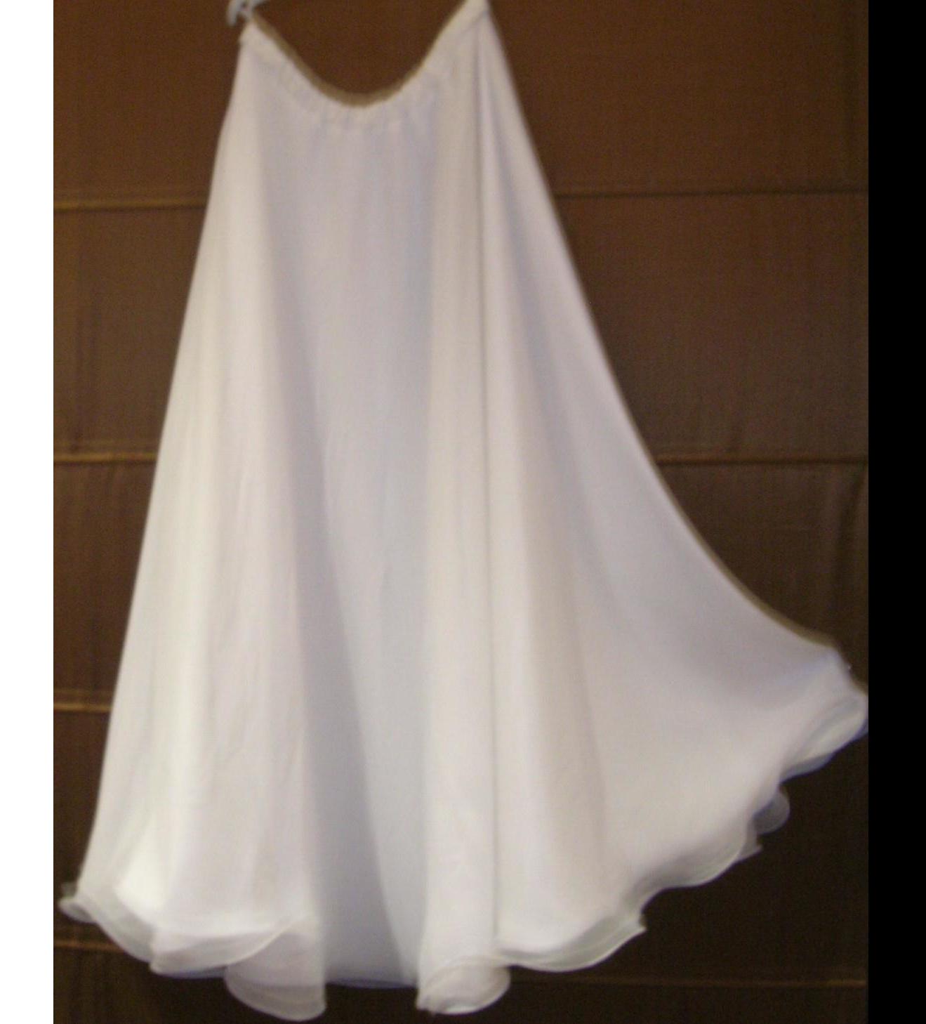 White Chiffon 1/2 circle skirt with flounce