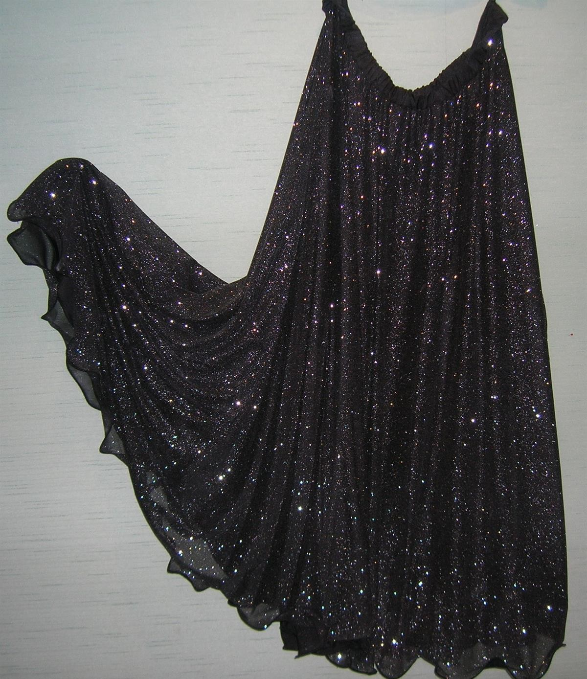 Black/Silver Sparkle 1/2 circle flounce skirt