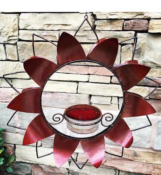 hummingbird feeder, flower, statement piece, yard art