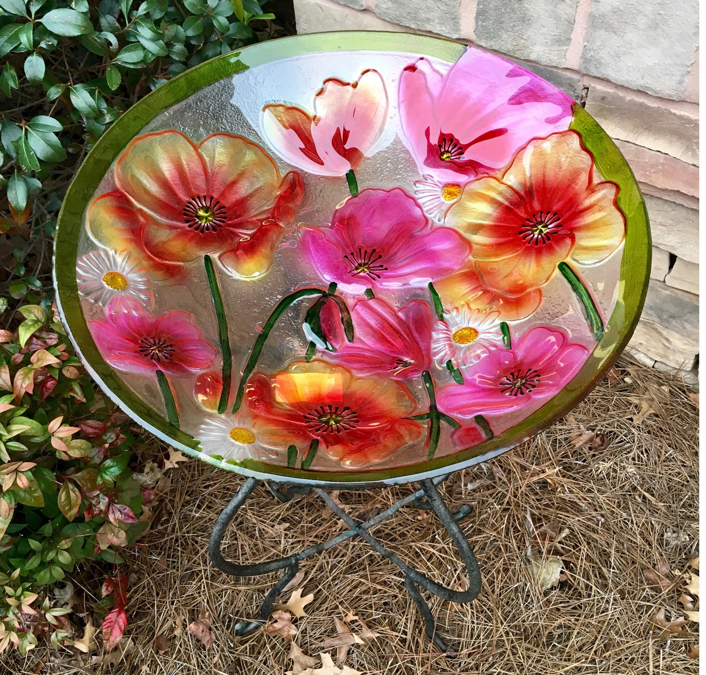 bird bath, glass, poppies, floral, garden