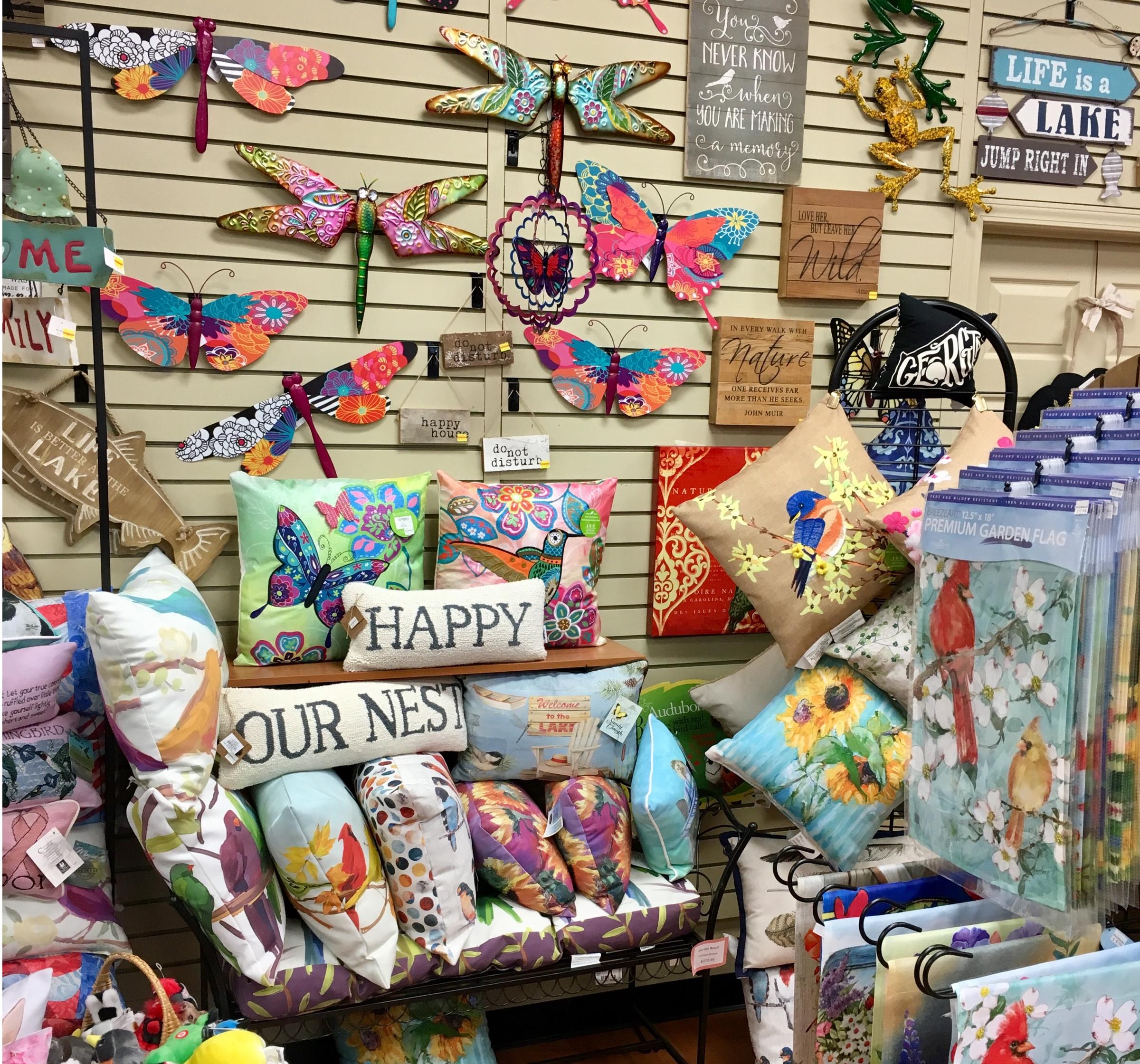 spring, decor, pillows, wall art, butterfly, dragonfly