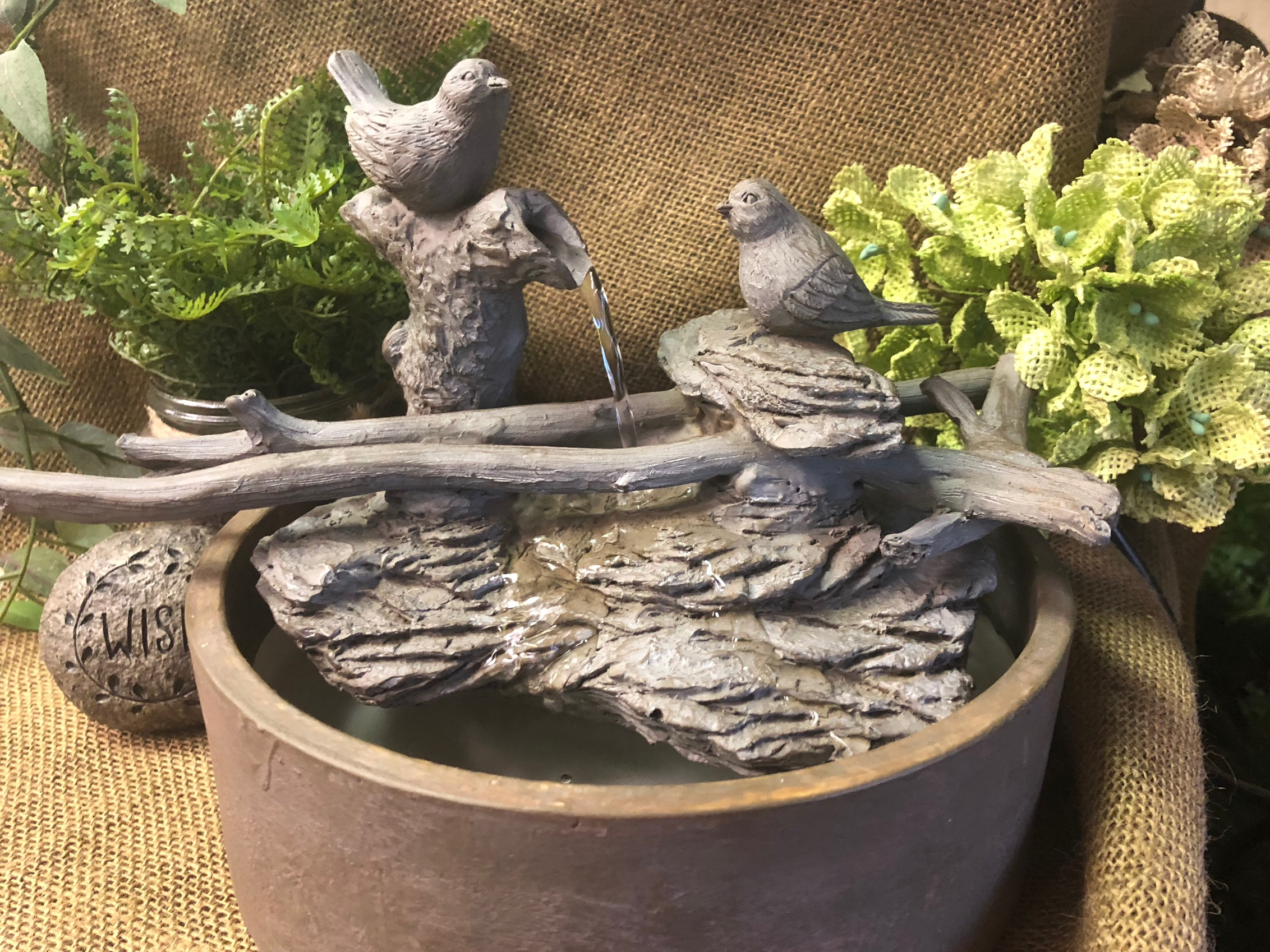 fountain, birds, nature's spring, tabletop, soothing, peaceful, gifts, home decor
