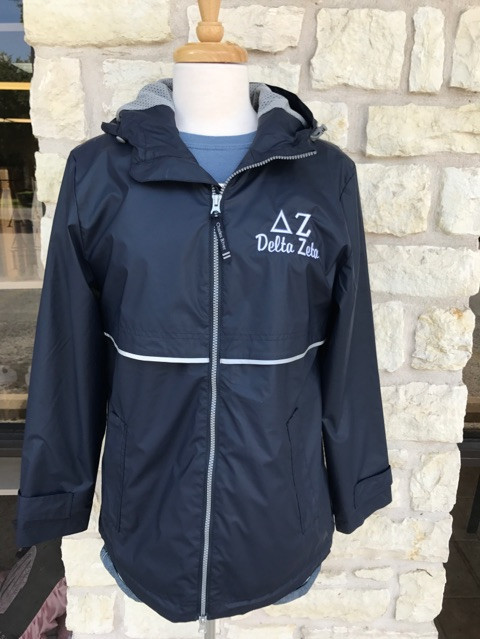 Delta Zeta Charles River Rain Jacket in Navy, Customize Sorority Greek Life Rain Jacket