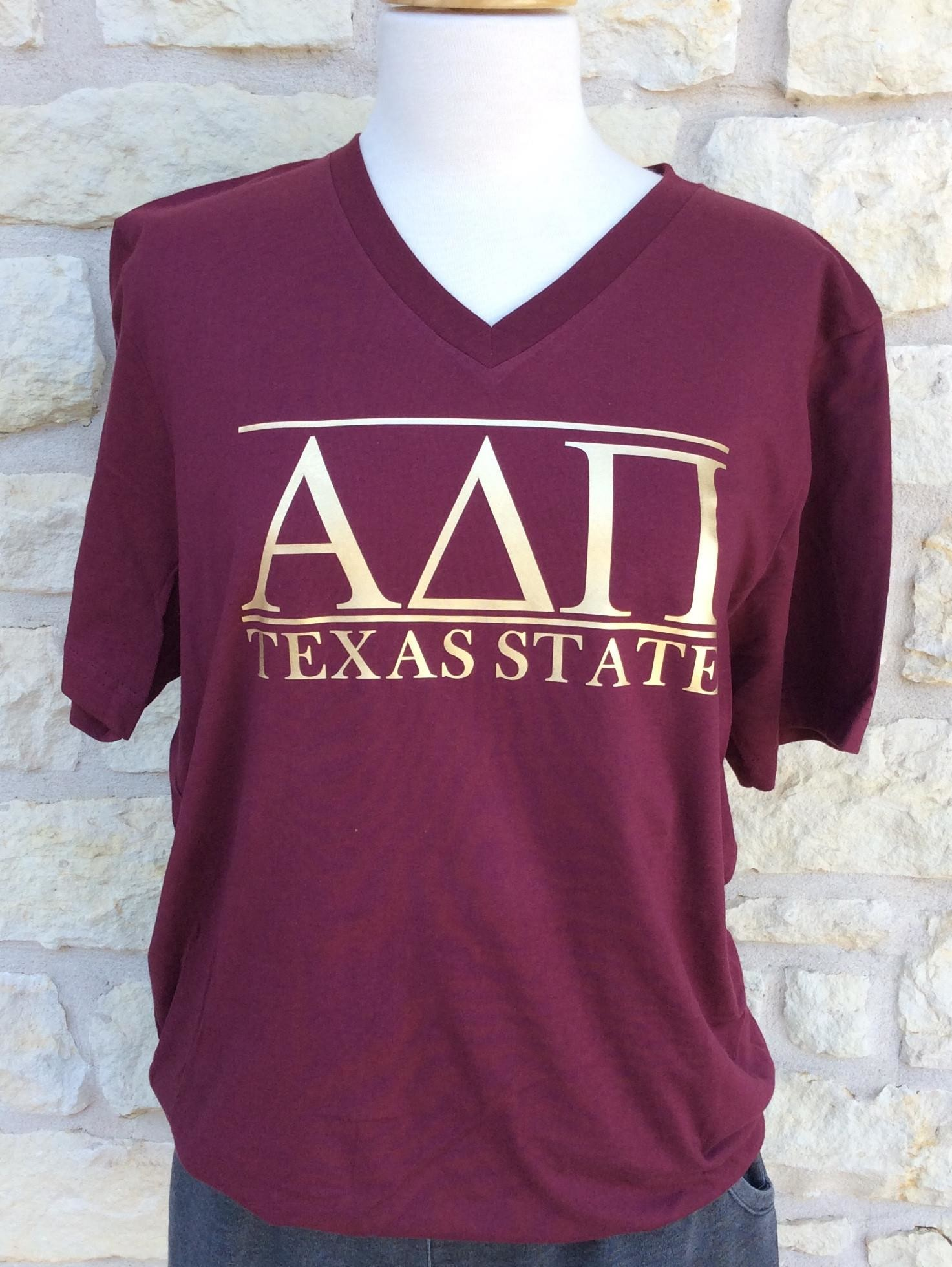 Greek Game Day V-Neck, Texas State Apparel, Custom Greek Life T-shirt