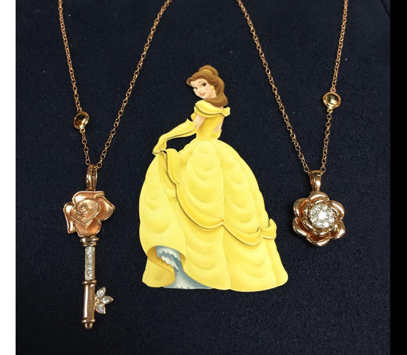 Disney's Belle Rose Diamond Pendants