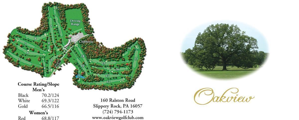 2016 memberships golfing Oakview Golf Club Pittsburgh Slippery Rock PA
