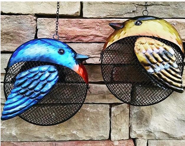 mesh feeder, bird feeding, metal, ornamental, bluebird, goldfinch
