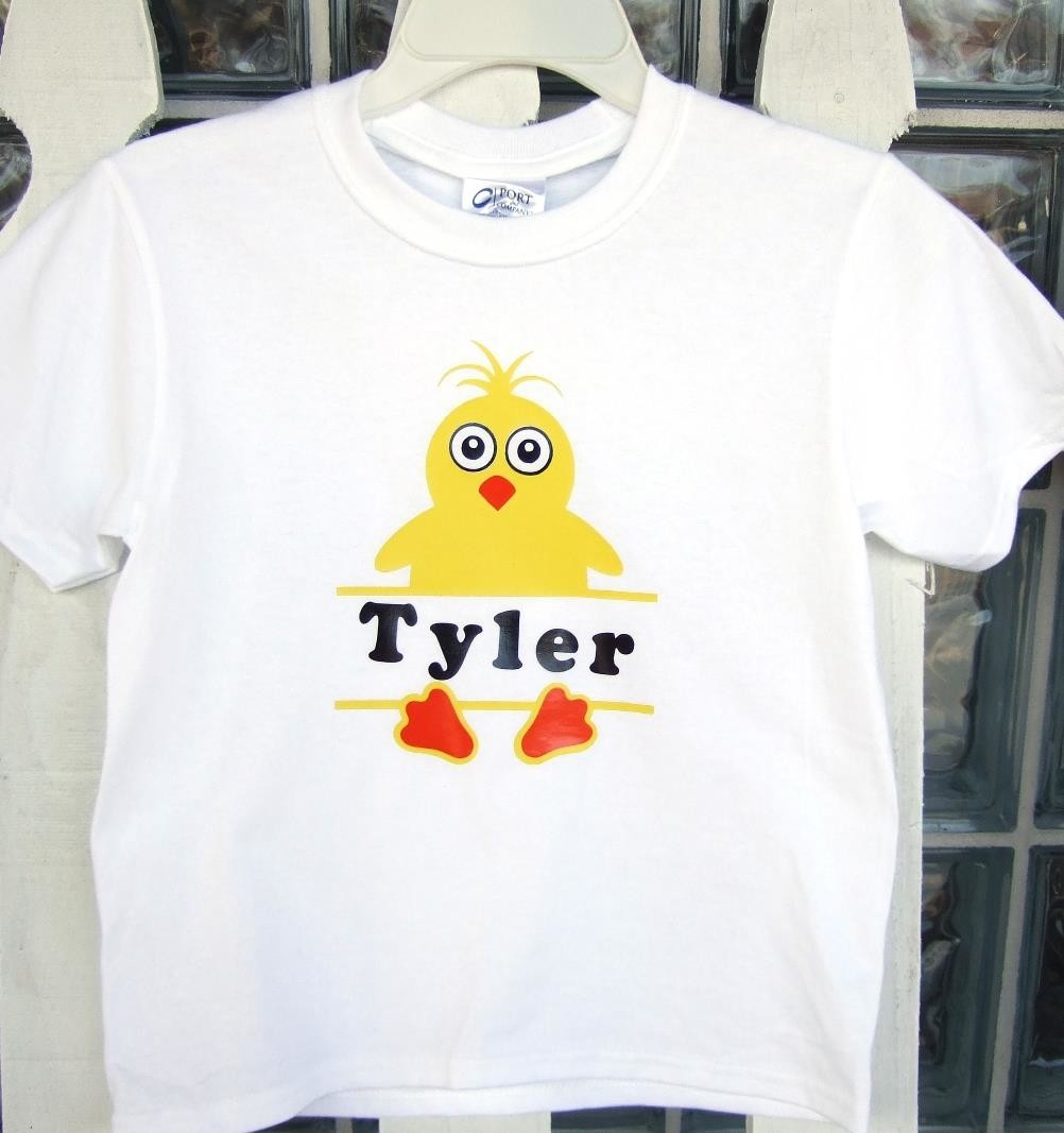 Yellow Easter chick tee with name