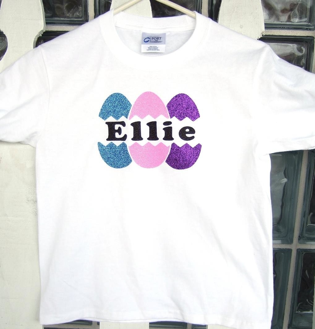 Glitter Easter egg tee with name