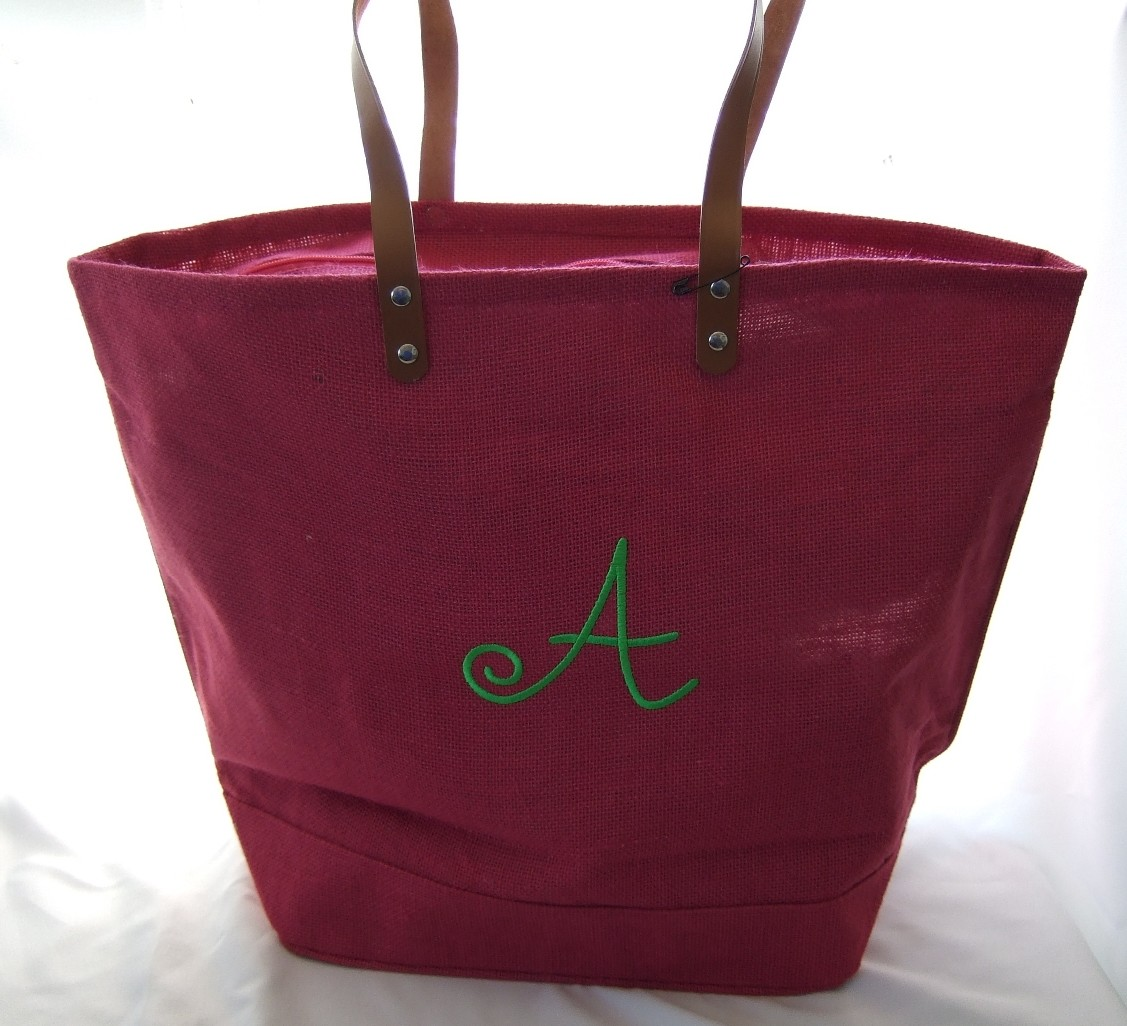 Personalize jute hot pink tote