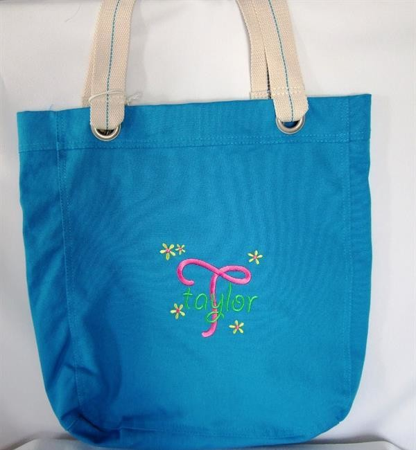 Personalized tote with monogram