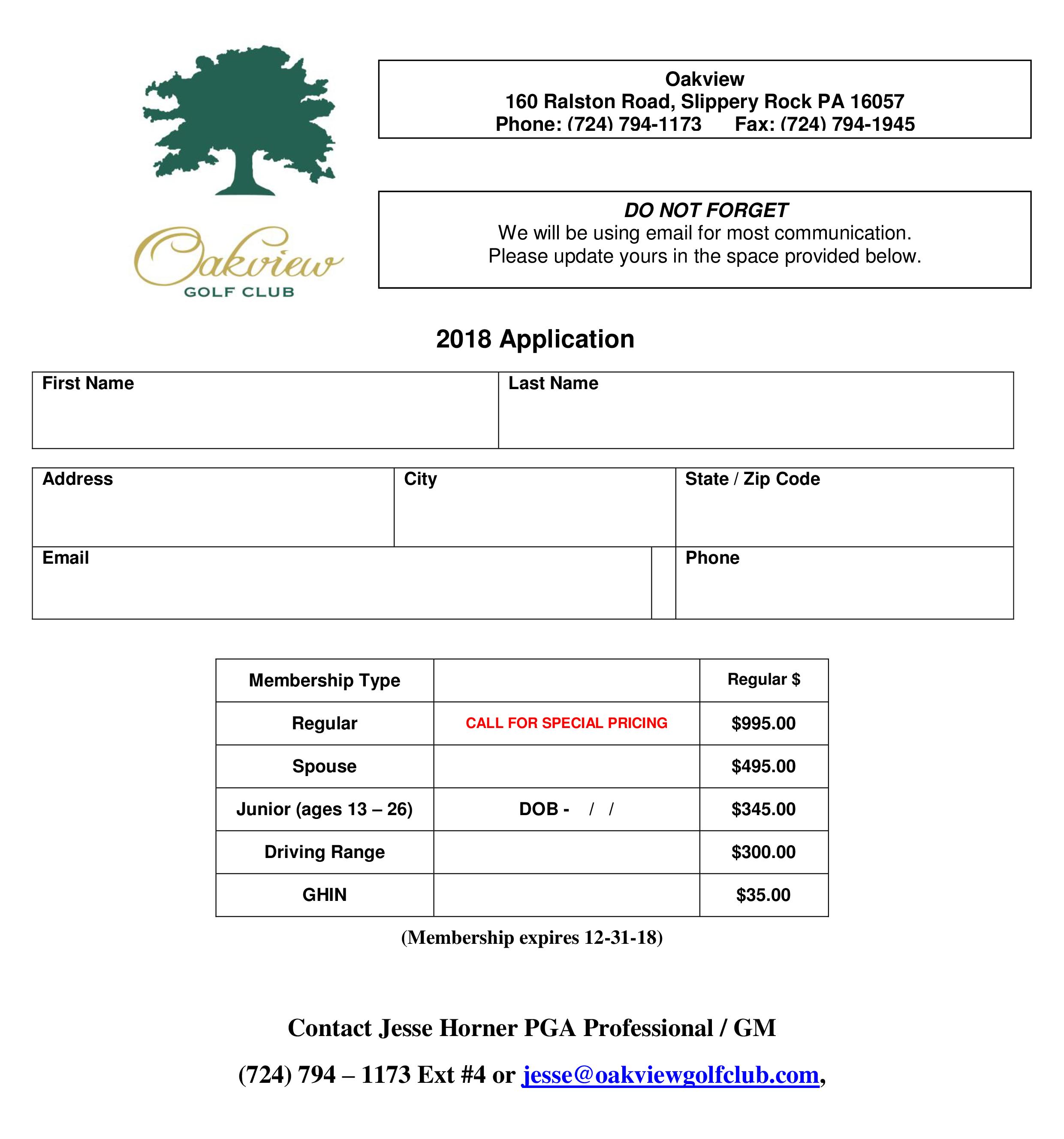 2018 Membership Application