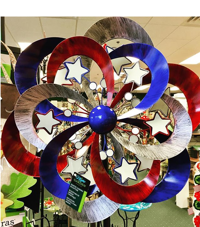 yard art, kinetic spinner, patriotic, glow in the dark, red white and blue