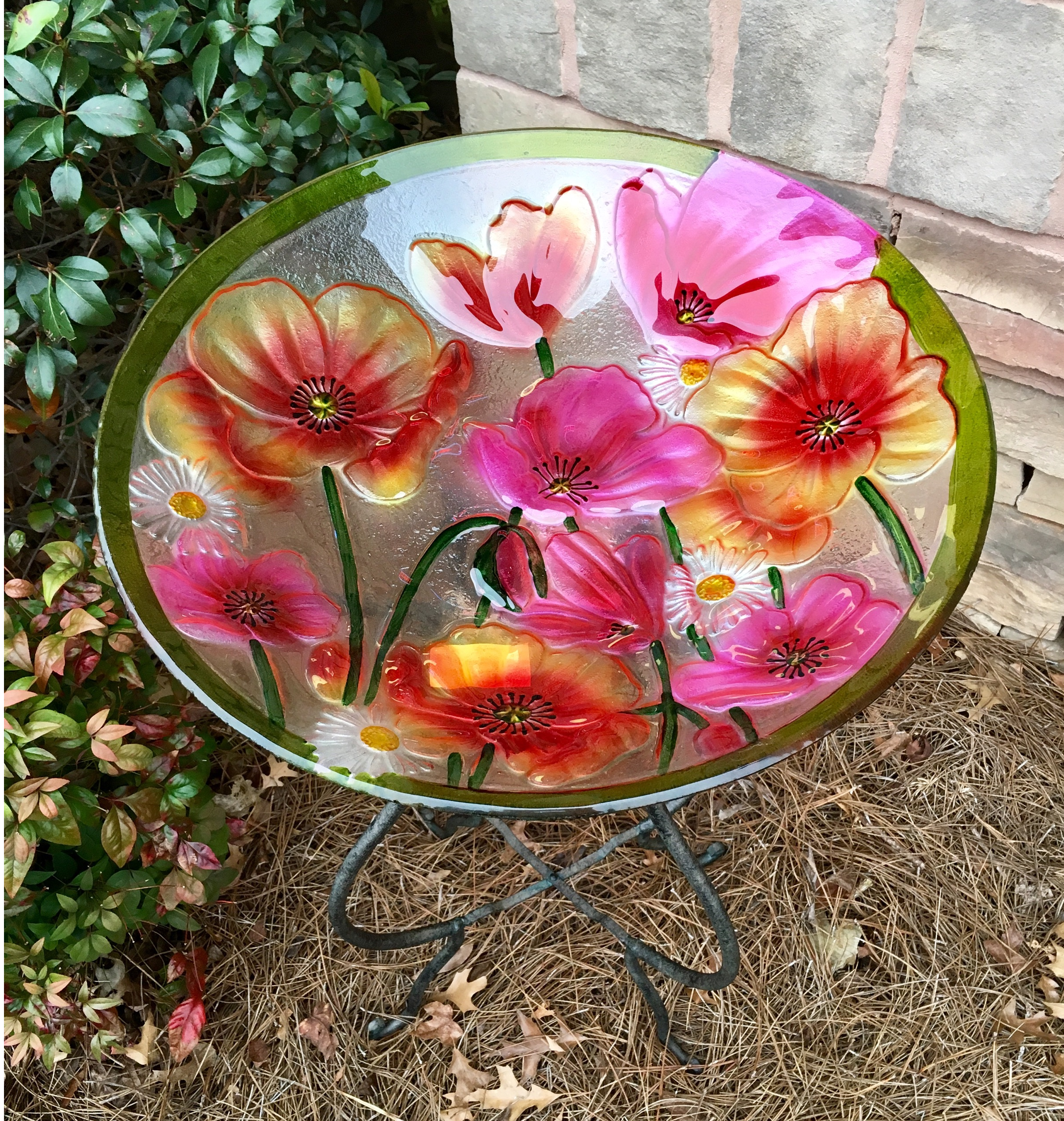 bird bath, glass, poppies, floral, garden